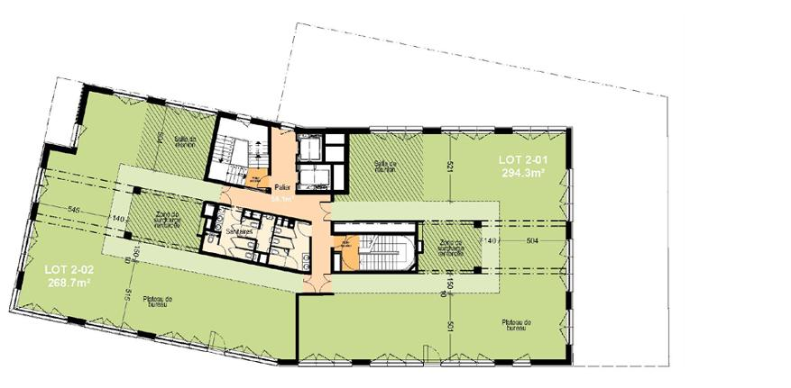 2nd floor: 629.2 m²; 60 workstations