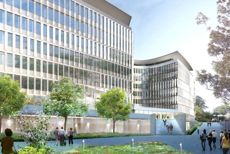 Green Office® Rueil depuis la Place Robert Schuman. Architecte : Jean-Michel Wilmotte